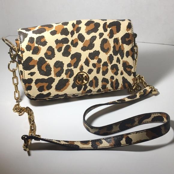 Tory Burch Handbags - Tory Burch Cheetah Print Metal Cross Body Purse